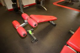 """Matrix Decline Bench, with (2) Wheels on Frame, Bench Total Length: Aprox. 47"""" L (LOCATED @ 2800"""