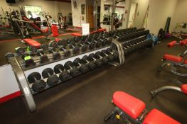 Rubber Dumbbells, Weight Range: 5-100 lbs., with (2) Matrix Dumbbell Racks, Rack Dims.: Aprox. 8'