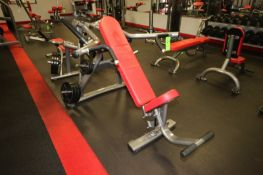 """Matrix Incline Press, with (6) 25 lbs. Plates, (6) 5 lbs. Plates, Overall Dims.: Aprox. 75"""" L x"""