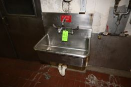 """S/S Single Bowl Sink, Internal Dims.: Aprox. 28"""" L x 16"""" W x 10"""" Deep, Wall Mounted (LOCATED IN"""