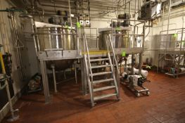 """S/S Platform For (2) S/S Groen Kettles, Overall Dims.: Aprox. 12 Ft. L x 8 Ft. W x 56"""" H ("""