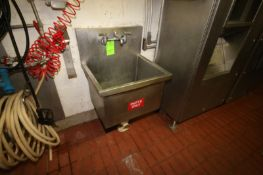 "S/S Single Bowl Sink, Internal Dims.: Aprox. 24"" L x 19-1/2"" W x 17-1/2"" Deep, Wall Mounted (LOCATED"