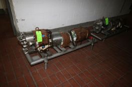 Waukesha Cherry Burrell 10 hp Positive Displacement Pump, M/N 130, S/N 425849 06, with Reliance 1755
