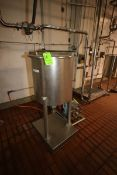 Aprox. 50 Gal. S/S Single Wall Tanks, with Cone Bottoms, Mounted on S/S Platforms on Load Cells,