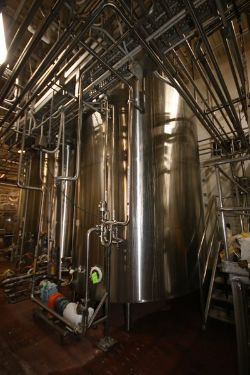 DCI 7,500 Gal. S/S Vertical Jacketed Tank, S/N JS1243B, with Top Mounted Agitation Motor &