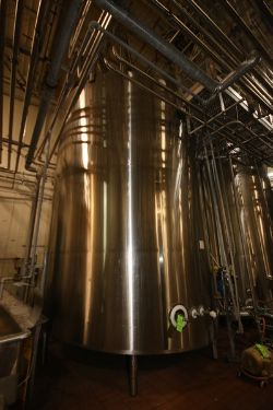 DCI 7,500 Gal. S/S Vertical Jacketed Tank, S/N JS1249A, with Top Mounted Agitation Motor &