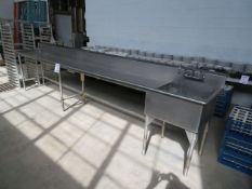 """Stainless steel counter w/ sink approx. 166""""w x 27""""d x 38""""h"""