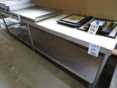 """Stainless steel table w/ cutting board top approx. 120""""w x 30""""d x 34""""h"""