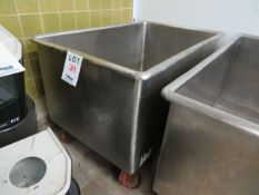 """Stainles steel tub on wheels approx. 33""""w x 50""""d x 29""""h"""