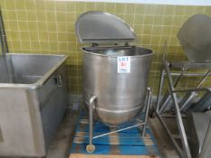 """Stainless steel tub on wheels approx. 31"""" round x 44""""h"""