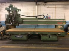 "Shoda Model NCW516-1352 2-Spindle Vertical CNC Router, S/N Z76A71901, (1997); 52"" x 168"" Table, 172"""