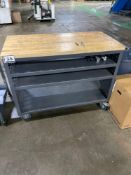Metal Rolling Warehouse Work Cart, w/ Chopping Board Top, 24in x 48in x 36in