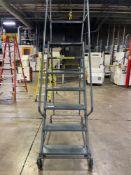 Ballymore 6-Step, w/ Platform Deck Rolling Warehouse Ladder, 350lb Max Capacity