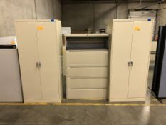 (2) 2-Door Cabinets & (1) Uline 4-Drawer Lateral File Cabinet