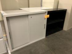 Black Metal Shelf & Sandusky Cabinet
