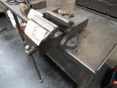 "6"" Table Vise with bench and contents"
