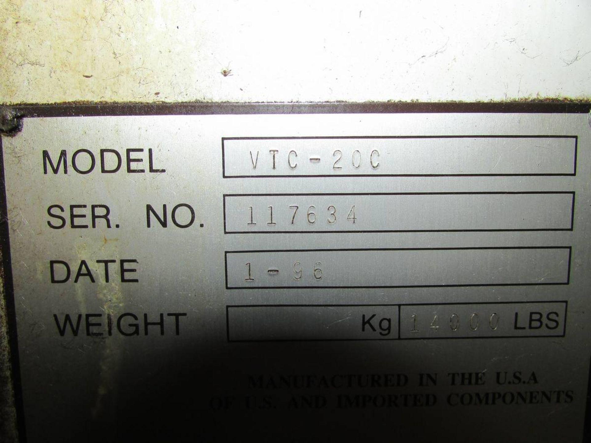 1996 Mazak VTC-20C Vertical Traveling Column 3-Axis CNC Machining Center - Image 19 of 20