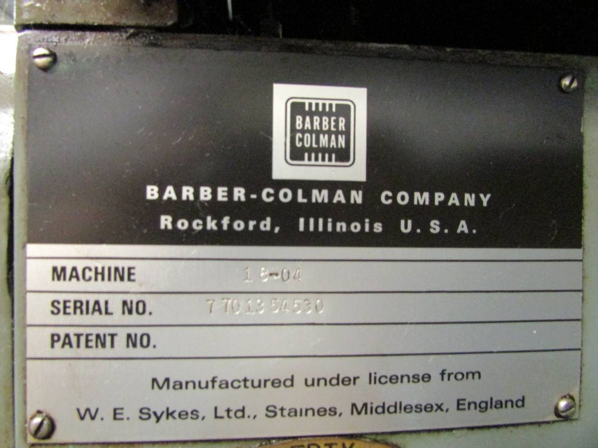 Barber Colman 18-04 Vertical Gear Shaping Machine - Image 19 of 19