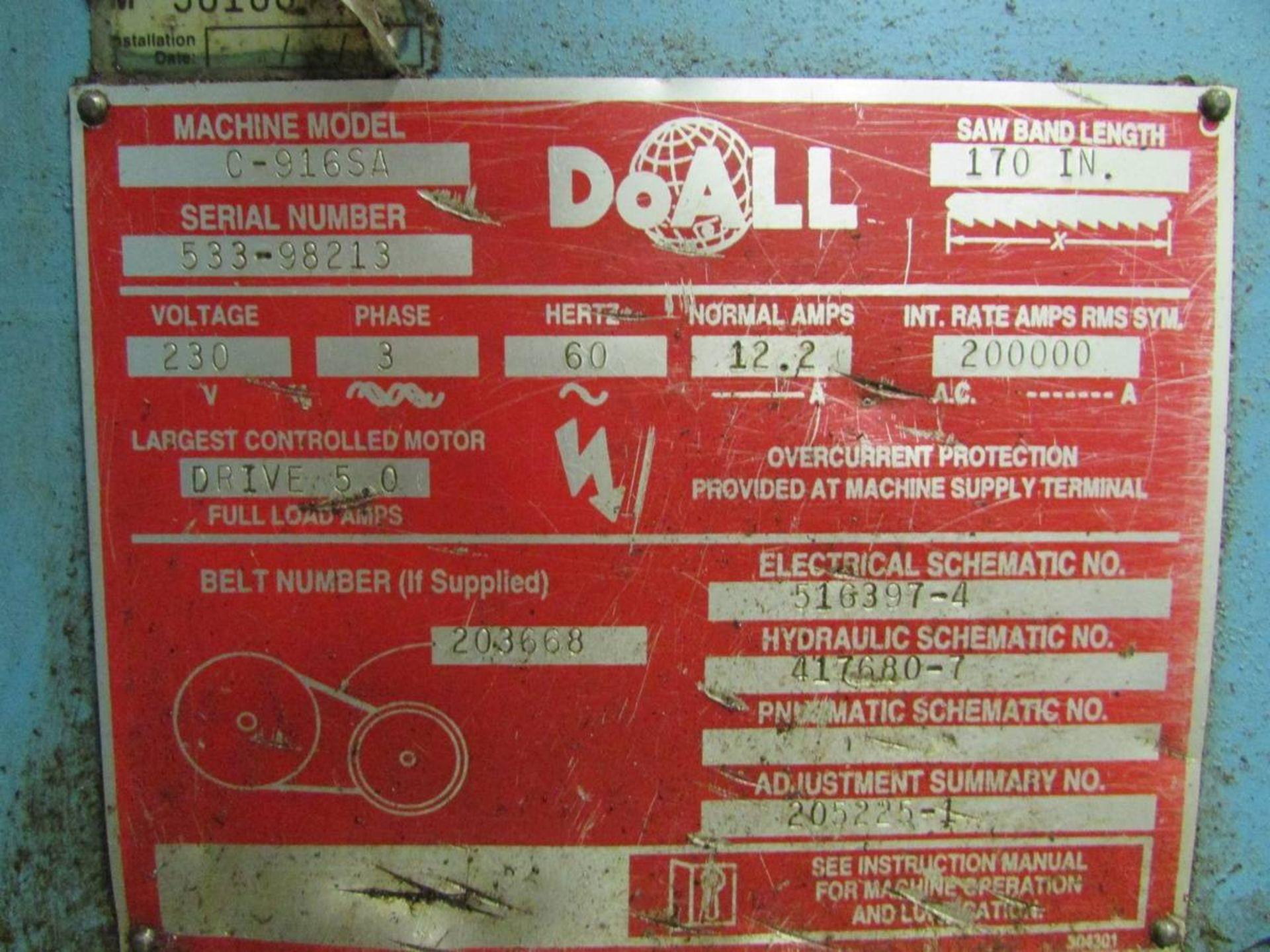 DoAll C-916SA Automatic Horizontal Bandsaw - Image 14 of 14