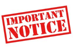 IMPORTANT NOTICE - PLEASE READ