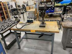 Butcher Block Table w/ Bench Drill Press