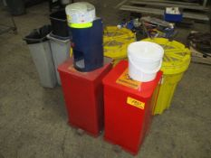 Lot of Oily Trash Cans, SpillTech Kits