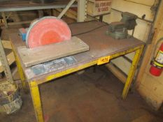 """35"""" x 48"""" x 37"""" H Steel Table with Vise & Sander"""