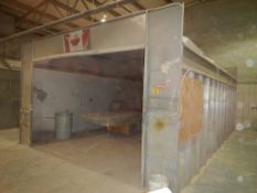 2008 CUSTOM MADE OPEN FACE SPRAY BOOTH 17'X25', LOCATED IN SYLVAN LAKE, AB, CANADA & REMOVAL IS THE