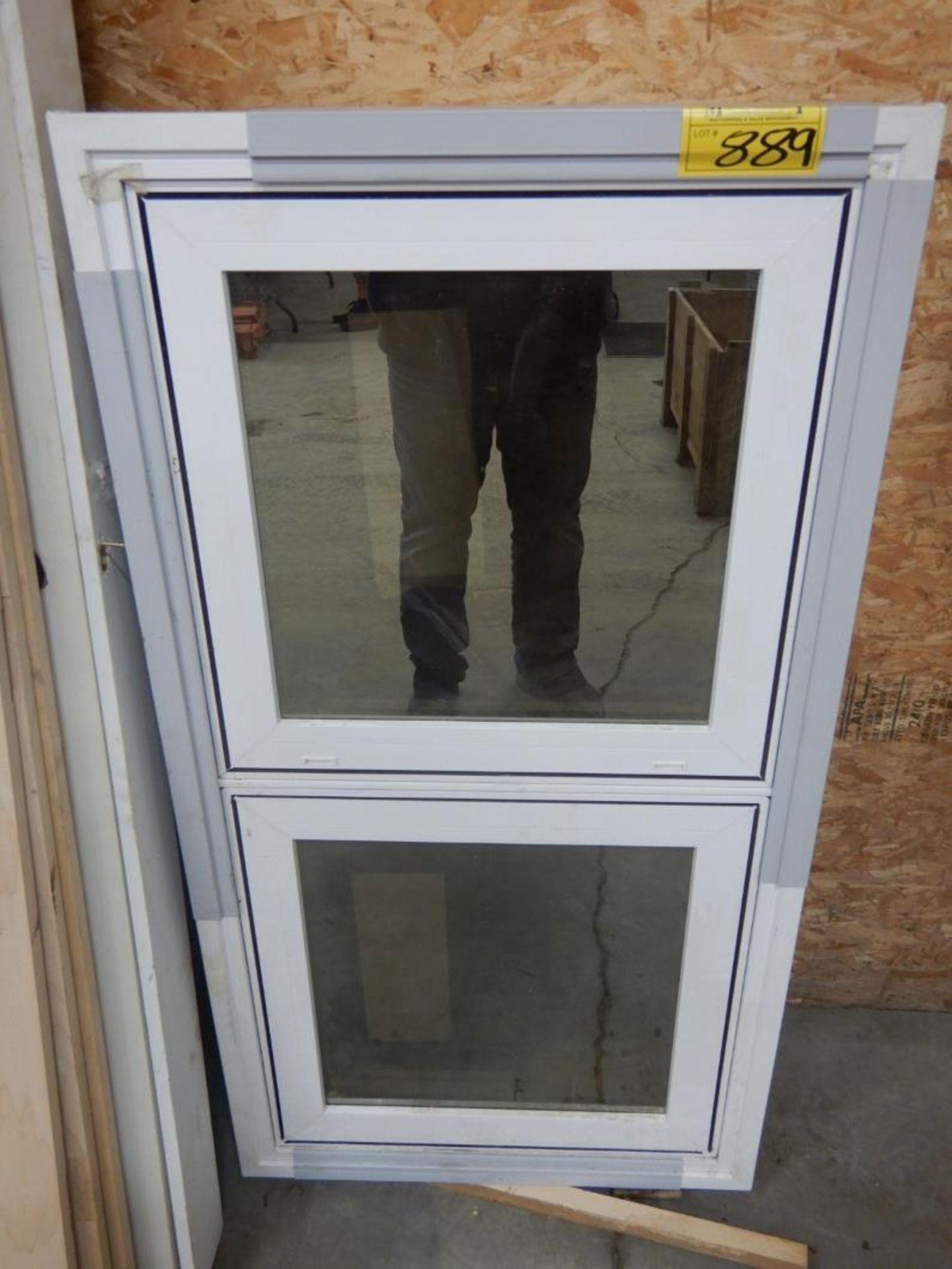 """FIBREGLASS EXTERIOR DOOR W/FRAME, WOOD DOOR JAMB, VINYL WINDOW 25""""X49"""" ROUGH OPENING - Image 2 of 2"""