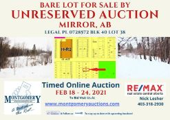 BARE LOT IN THE VILLAGE OF MIRROR, ALBERTA - LEGAL DESCRIPTION: PLAN 0728572 BLK 40 LOT 38 *ONLY