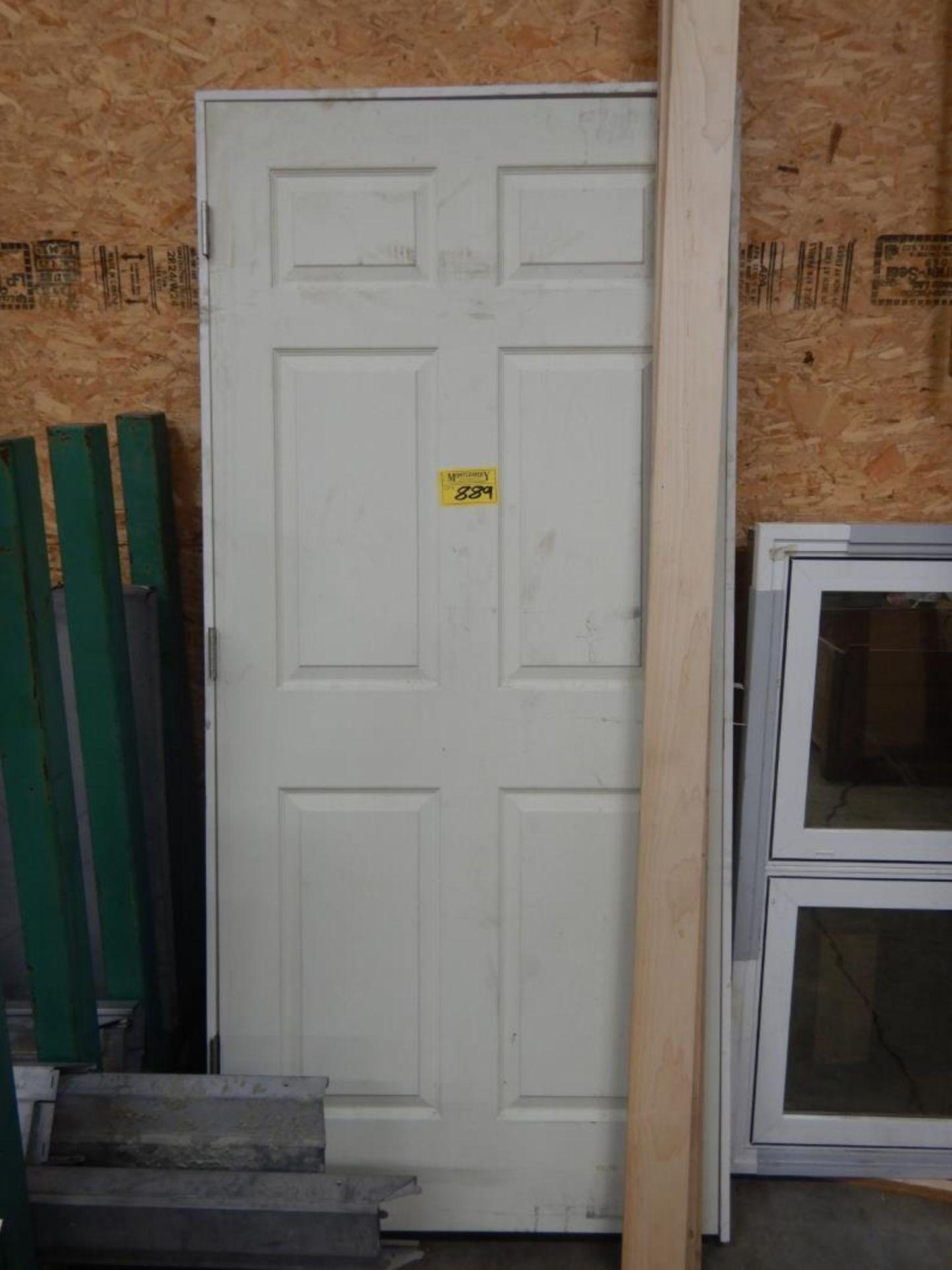 """FIBREGLASS EXTERIOR DOOR W/FRAME, WOOD DOOR JAMB, VINYL WINDOW 25""""X49"""" ROUGH OPENING"""