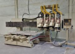1997 KOMO VR804TT 4-HEAD CNC ROUTER TABLE W/ (2) 4FTX4FT VACUUM TABLES & PUMP, (NEEDS SOME TLC),