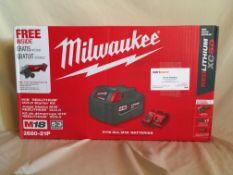 "MILWAUKEE M18 REDLITHIUM XC5.0 STARTER KIT Kit contains: M18 4 1/2"" Cordless Cut Off/Grinder, 1 -"