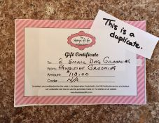 GIFT CERTIFICATE FOR 2 SMALL DOG GROOMINGS Donated by: Pawsitive Grooming. Rimbey, AB Value: $110.
