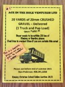 20 YARDS of 20mm CRUSHED GRAVEL - DELIVERED (1 Truck & Pup) Buyer needs to be within 20 km of Rimbey