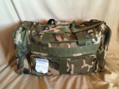 """LARGE CAMOUFLAGE DUFFEL BAG (27""""x14""""x13.5"""") Donated by: Stationery, Stories & Sounds. Rimbey, AB"""