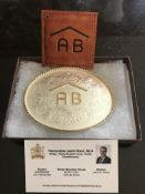 ALBERTA STRONG BELT BUCKLE Montana Silver - Rafter AB belt buckle Donated by: Jason Nixon, Rimbey,