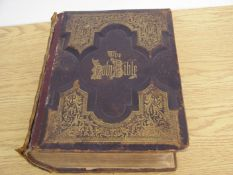 ANTIQUE LEATHER BOUND BIBLE Bible has an inscription inside dated October 31, 1899. Pictures in