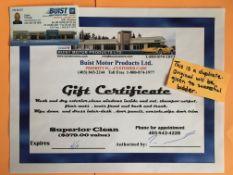 VEHICLE SUPERIOR DETAILING GIFT CERTIFICATE Get your vehicle cleaned at Buist Motors Products