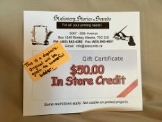 STATIONERY, STORIES & SOUNDS $50.00 GIFT CERTIFICATE $50.00 In Store Credit Gift Certificate, cannot