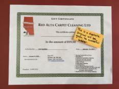 RED ALTA CARPET CLEANING LTD. $99 GIFT CERTIFICATE Specializes in carpet and upholstery cleaning,