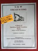 4 HOURS of BACKHOE/ SMALL TRACKHOE WORK Gift certificate is for 4 hours of Backhoe/Small Trackhoe