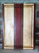 """CUSTOM MADE CUTTING BOARD Cutting board is made by Dan Glanfield. It is 15 1/2"""" x 11 1/2"""". The red"""