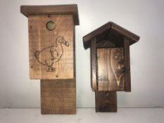 2 BIRDHOUSES Smaller birdhouse with door is a wren deterrent. Wrens can sometimes be territorial and