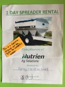 GIFT CERTIFICATE FOR 1 DAY SPREADER RENTAL Donated by: Nutrien Ag Solution. Rimbey, AB Value: $105.