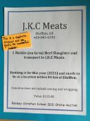 ON FARM BEEF SLAUGHTER & TRANSPORT TO JKC MEATS One mobile (on farm) beef slaughter & transport to