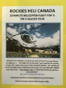 20 MINUTE HELICOPTER FLIGHT FOR 2: THE 6 GLACIER TOUR Rockies Heli Canada is located west of