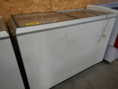"""CARAVELL 445 51"""" COM. FREEZER W/SLIDING LID (HARD ICE CREAM DIPPING CABINET) W/CASTERS, TUB INSERTS,"""