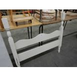 ANTIQUE WOODEN HEADBOARD W/FOOTBOARD FOR SINGLE BED - WHITE