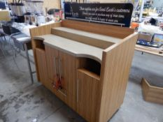 """MILLWORK COFFEE SERVICE COUNTER W/CASTERS – 56"""""""